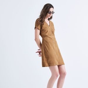 madewell suede leather shift dress F6288 Sz 2